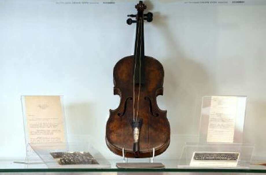 Wallace Hartley's violin which is what he played as the band leader of the Titanic, is displayed at auctioneers Henry Aldridge & son on the 101st anniversary of the sinking of the ship on April 15, 2013 in Devizes, England.