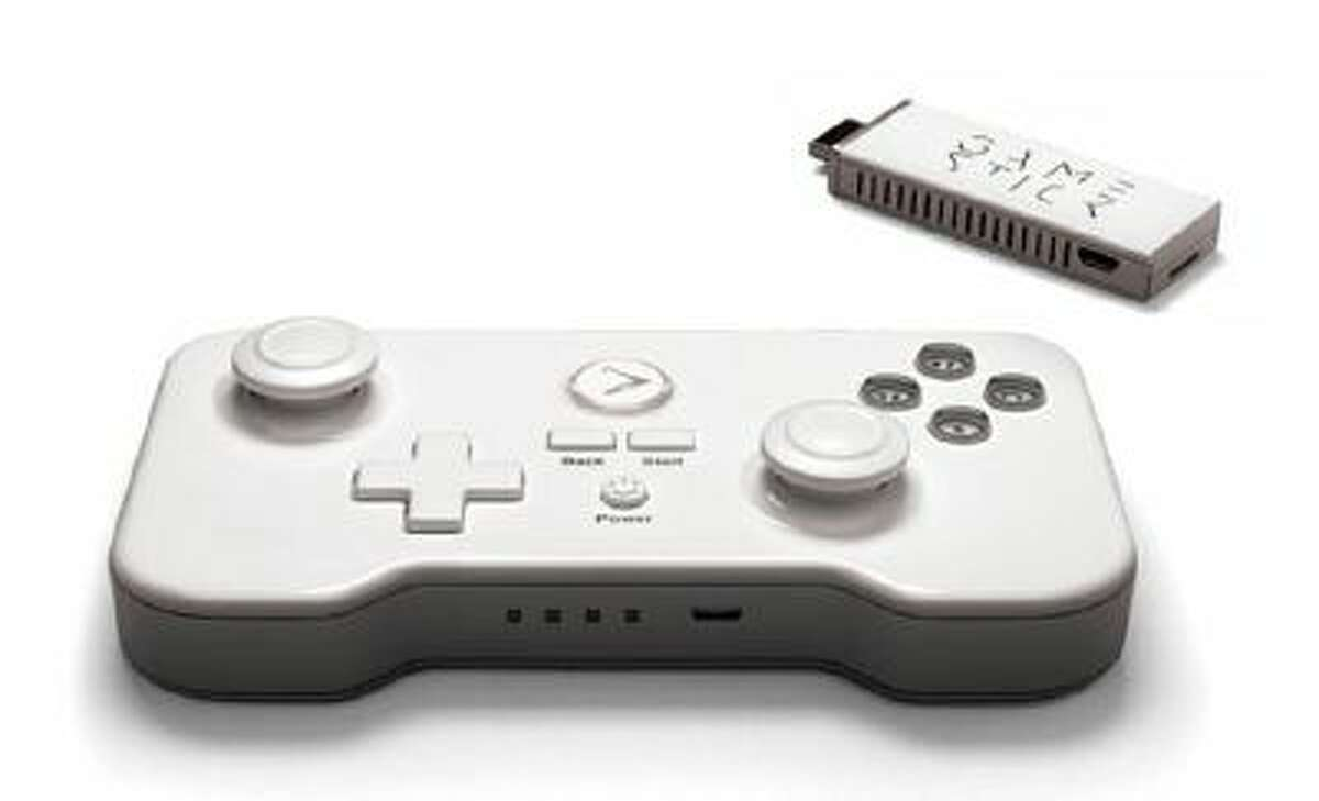 The dongle and controller for GameStick, a new Android-based portable game console.
