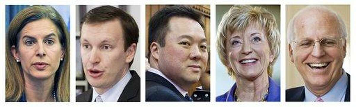 This panel of file photos shows the five front-running Democrats and Republicans vying for their party nominations to contend in the November 2012 general election for the U.S. Senate seat being vacated by the retiring Sen. Joe Lieberman, I-Conn. Shown, from left, are Democrat former Secretary of the State Susan Bysiewicz, Democrat U.S. Rep. Chris Murphy, Democrat state Rep. William Tong;, Republican former wrestling executive Linda McMahon and Republican former U.S. Rep Christopher Shays. Associated Press