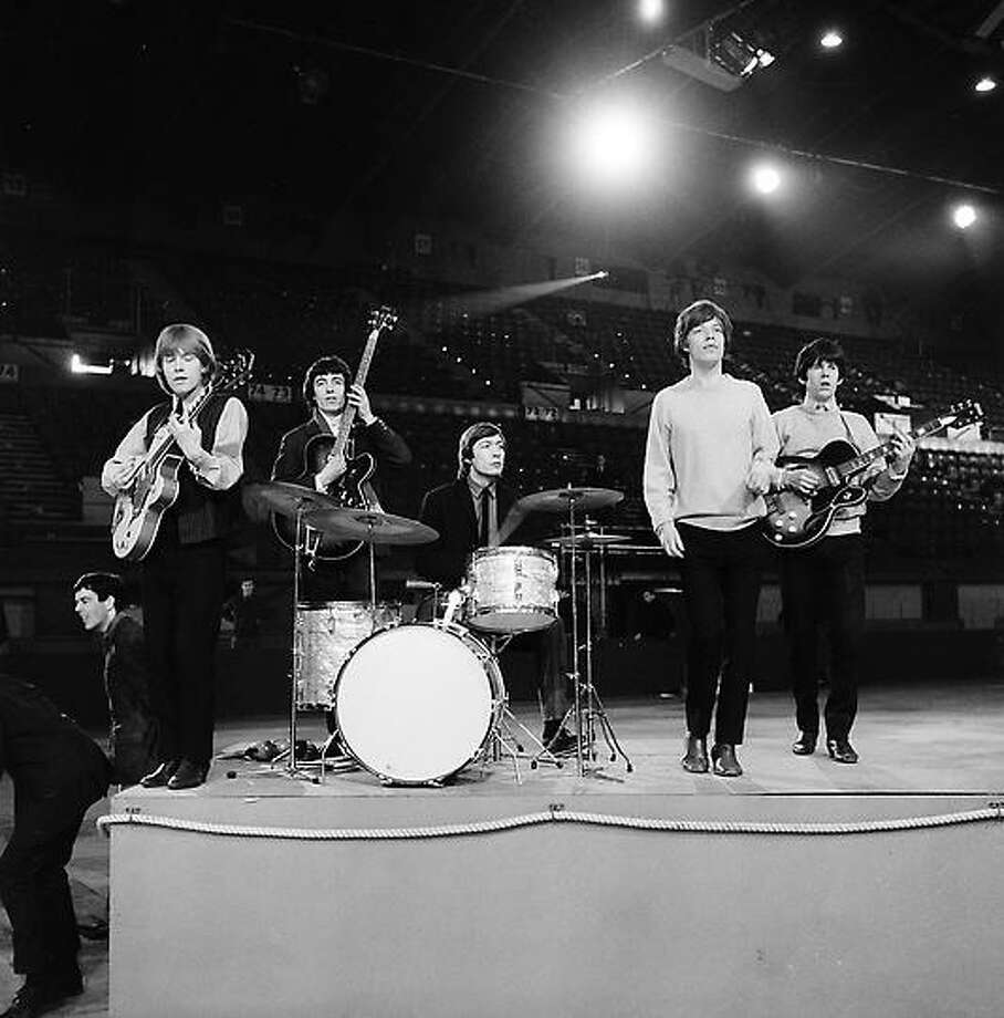 The Rolling Stones are shown during rehearsal on April 8, 1964 at an unknown location.  The British band members, from left, are, Brian Jones, guitar; Bill Wyman, bass; Charlie Watts, drums; Mick Jagger, vocals; and Keith Richards, guitar.  (AP Photo) Photo: AP / 1964 AP