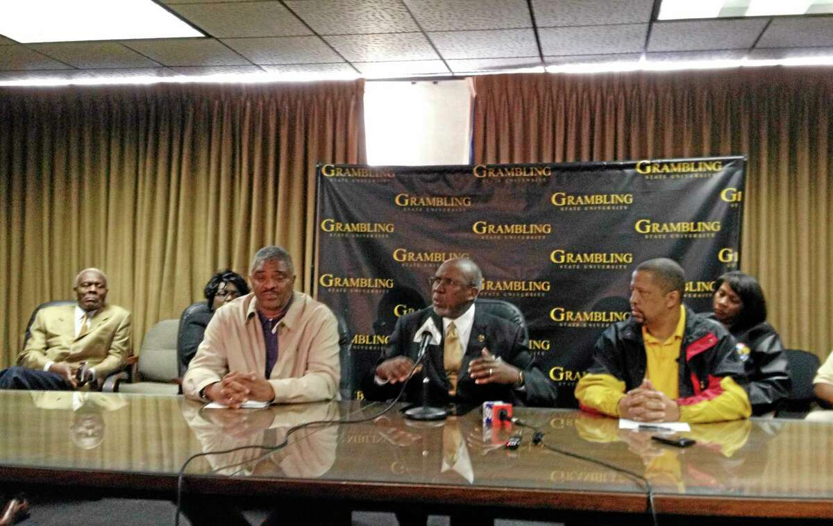 Grambling State University president Frank Pogue talks to reporters about the athletic program on Friday in Grambling, La. Grambling canceled Saturday's football game against Jackson State after disgruntled players refused to travel to Jackson.