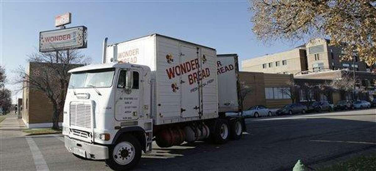 A Wonder Bread truck pulls out of the Utah Hostess plant Thursday in Ogden, Utah. Associated Press