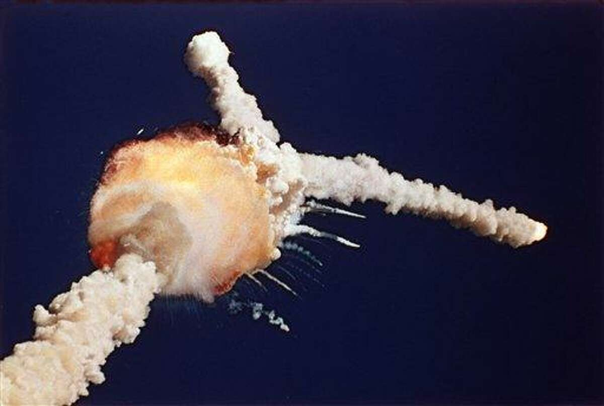 In this Jan. 28, 1986, file photo, the space shuttle Challenger explodes shortly after lifting off from the Kennedy Space Center in Cape Canaveral, Fla. Sony Electronics and the Nielsen television research company collaborated on a survey ranking TV's most memorable moments. Other TV events include, the Sept. 11 attacks in 2001, Hurricane Katrina in 2005, the O.J. Simpson murder trial verdict in 1995 and the death of Osama bin Laden in 2011. Associated Press