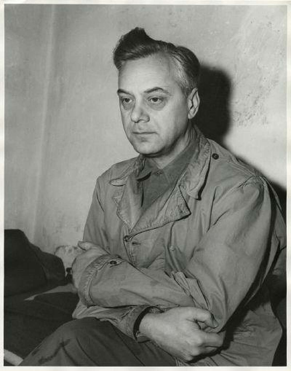 Defendant Alfred Rosenberg, the former Chief Nazi Party Ideologist, sits in his jail cell during the International Military Tribunal trial of war criminals at Nuremberg in this photograph taken by a United States Army Signal Corps photographer in Nuremberg on November 24, 1945. Rosenberg was hanged at Nuremberg after his conviction.
