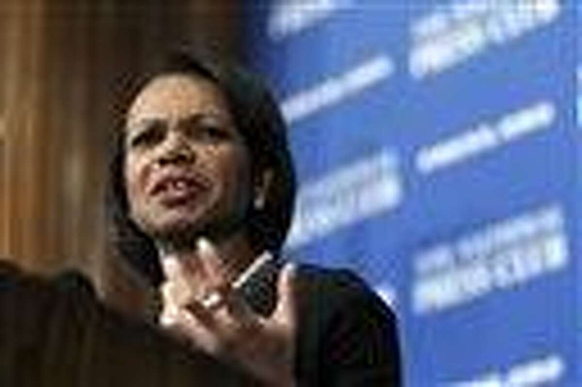 In this 2010 file photo, former Secretary of State Condoleezza Rice speaks at the National Press Club in Washington. Associated Press