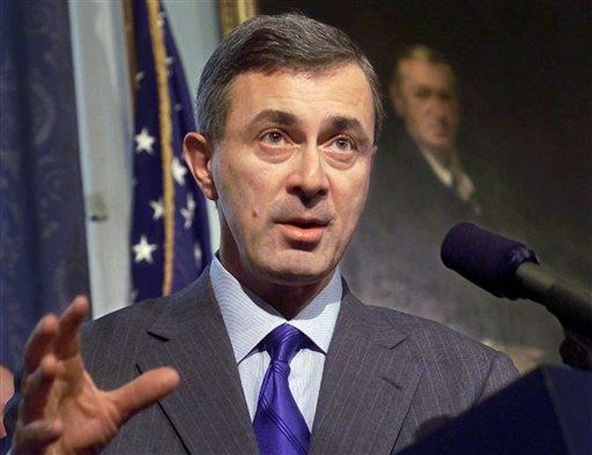 In this Feb. 22, 2000 file photo, Massachusetts Gov. Paul Cellucci addresses members of the media during a news conference at the Statehouse in Boston. Former Massachusetts Gov. Argeo Paul Cellucci has died of complications from ALS, also known as Lou Gehrig's Disease. He was 65. His death was announced Saturday, June 8, 2013 on behalf of his family by Dr. Michael F. Collins, chancellor of the University of Massachusetts Medical School, where Cellucci was involved in raising funds for ALS research. (AP Photo/Steven Senne, File)
