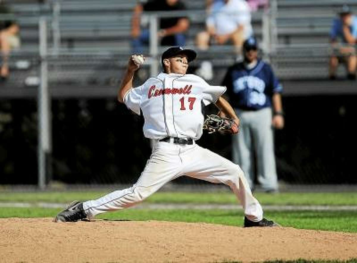Steve McLaughlin/Special to the Press Cromwell senior Christian Budzik entered the game in relief and held the Oxford Wolverines scoreless until the top of the seventh. Oxford defeated Cromwell 4-0 to earn their first ever Class S Baseball Title.