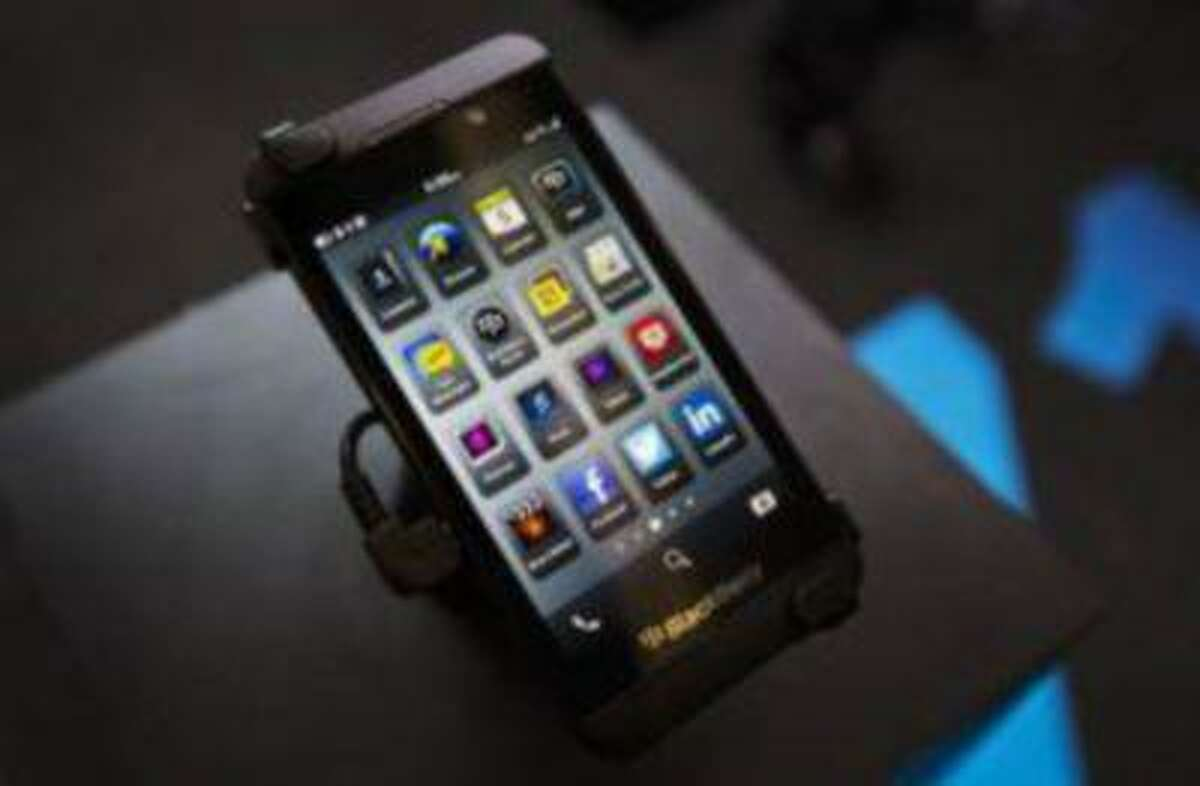 A Blackberry Z10 is displayed at a store in Toronto in this February 5, 2013 file photograph. BlackBerry announced better than expected results on March 28, 2013, driven by demand for its new touchscreen device which holds the key to a successful turnaround for the smartphone maker.