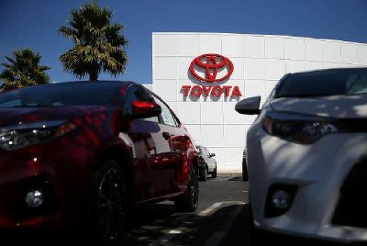 The Toyota logo is displayed at Toyota Marin on October 1, 2013 in San Rafael, California.