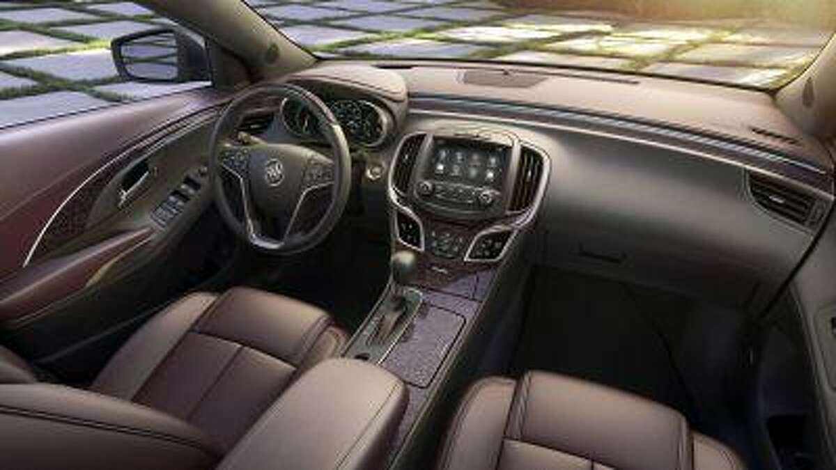 The 2014 Buick LaCrosse Ultra Luxury Interior Package with semi-aniline leather seating, Tamo Ash wood trim and synthetic suede headliner and pillars coverings.
