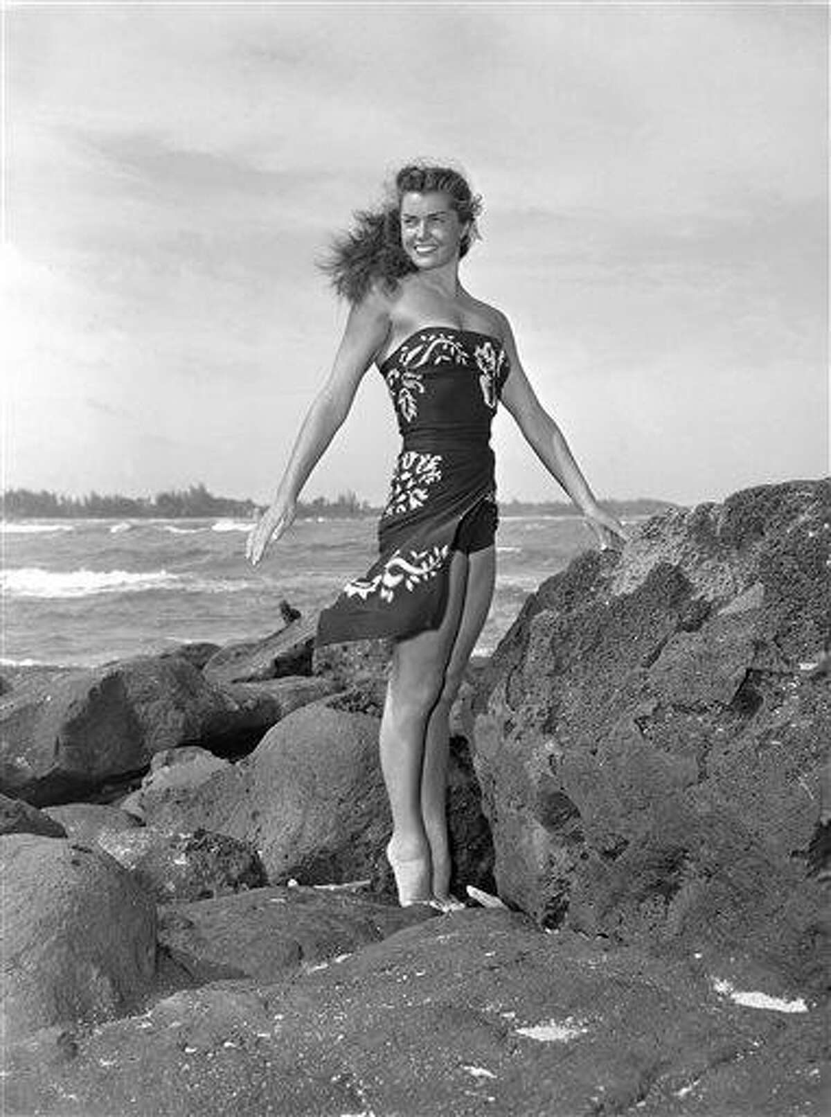 FILE - This May 1950 file publicity photo originally released by Metro-Goldwyn-Mayer shows Esther Williams on location for the film