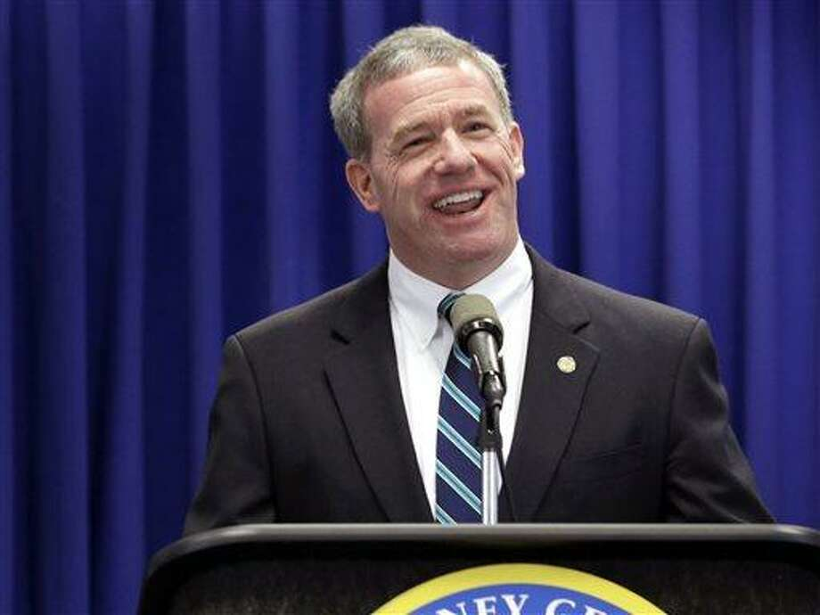 """This May 23, 2013 file photo, New Jersey Attorney General Jeffrey Chiesa talks about an investigation dubbed """"Operation Swill,"""" at a news conference in Trenton, N.J.  New Jersey Gov. Chris Christie has named state  Chiesa  to temporarily fill the U.S. Senate seat that opened up this week after Frank Lautenberg's death. Chiesa worked with Christie in the U.S. attorney's office before becoming the top lawyer for the state government. He has overseen gun buyback programs all over the state, but has not had a particularly high profile. Christie has scheduled a special election for October to fill the seat until it expires in January 2015.(AP Photo/Julio Cortez) Photo: AP / AP"""