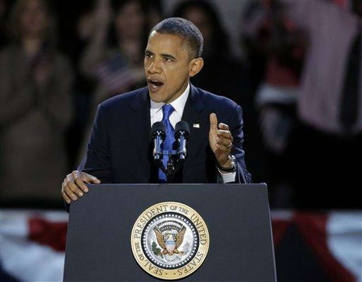 President Barack Obama speaks at his election night party Wednesday in Chicago. Associated Press