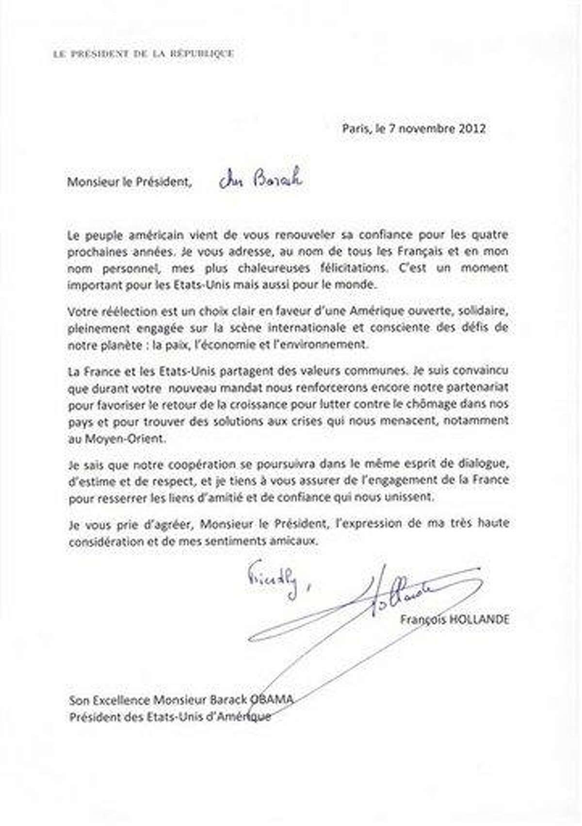 In this photo provided by the French Presidential Palace on Wednesday, Nov. 7, 2012, a letter written by French President Francois Hollande addressed to U.S. President Barack Obama congratulating him on his reelection bears a handwritten salutation reading,