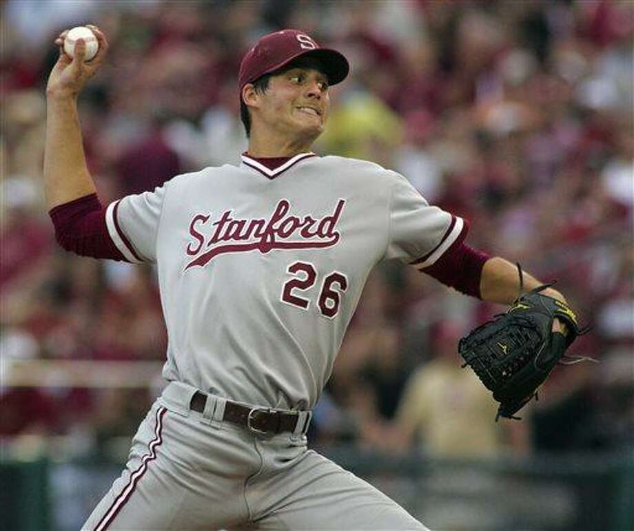 FILE - In this June 8, 2012 file photo, Stanford pitcher Mark Appel throws in the third inning of an NCAA college baseball tournament super regional game against Florida State in Tallahassee, Fla. (AP Photo/Phil Sears, File) Photo: AP / FR170567 AP