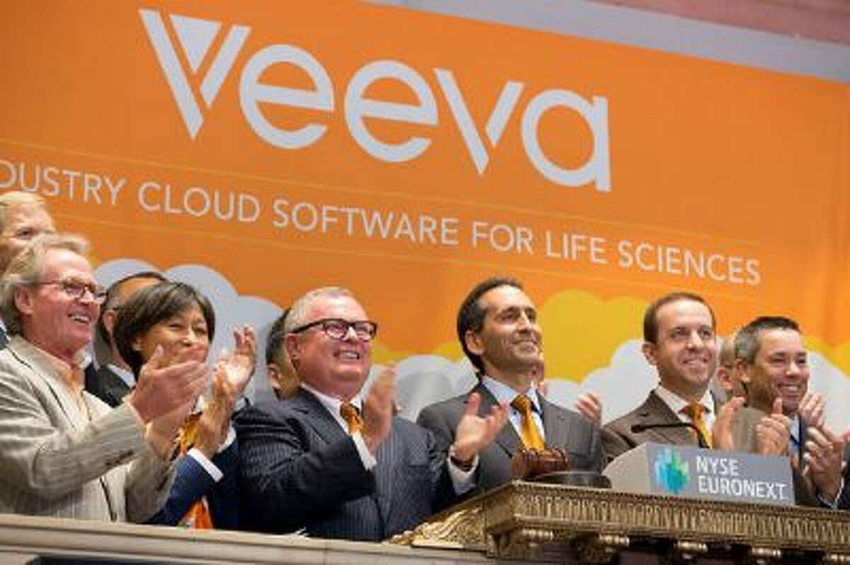Veeva Systems founder and CEO Peter Gassner rings the opening bell at the New York Stock Exchange to celebrate the company's IPO on October 16, 2013 in New York City. (Ben Hider/NYSE Euronext)
