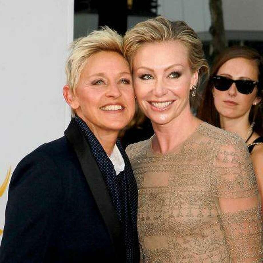 Ellen DeGeneres and Portia de Rossi 64th Annual Primetime Emmy Awards, held at Nokia Theatre L.A. Live - Arrivals Los Angeles, California - 23.09.12 Mandatory Credit: WENN.com/FayesVision Photo: Mandatory Credit: WENN.com/Fayes / Mandatory Credit: WENN.com/FayesVision