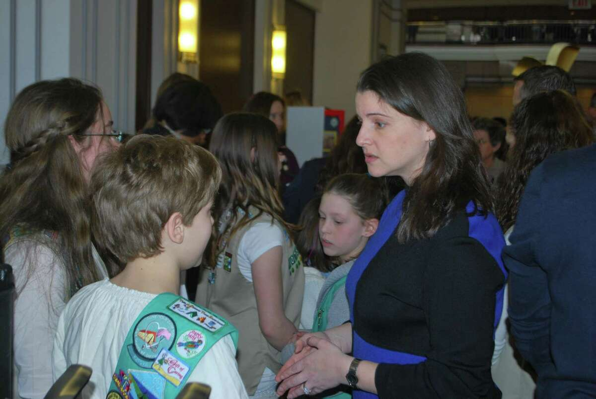 State Rep. Christie Carpino, who was a Girl Scout growing up as a child, was sworn in as an Honorary Girl Scout during a statewide event that showcased the organization's efforts to push for more educational opportunities for girls. Girl Scout Day at the State Capitol on March 7th, permitted legislators to meet with local Girl Scouts about the issues they feel are most important to them.