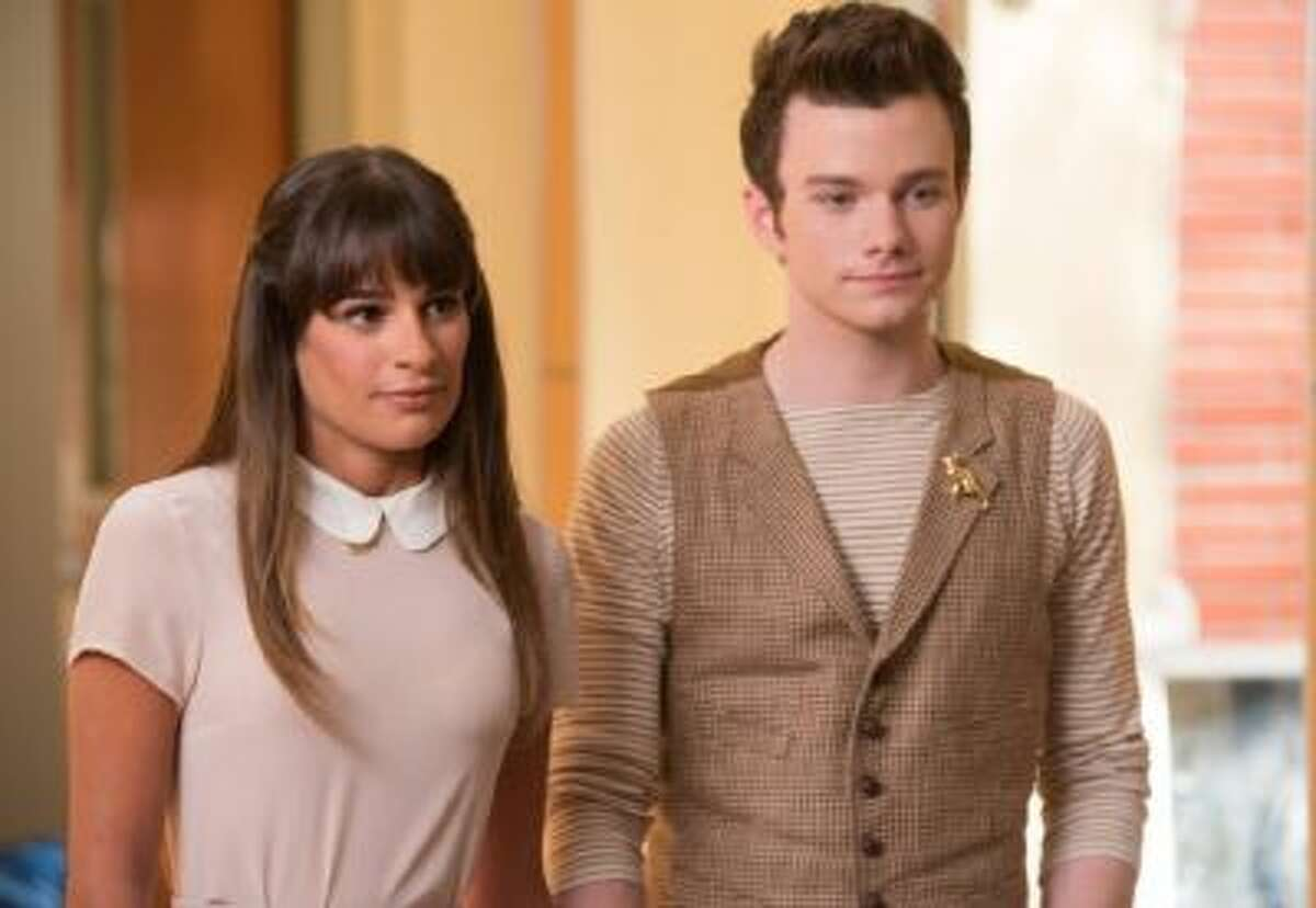 Lea Michele and Chris Colfer in an episode of