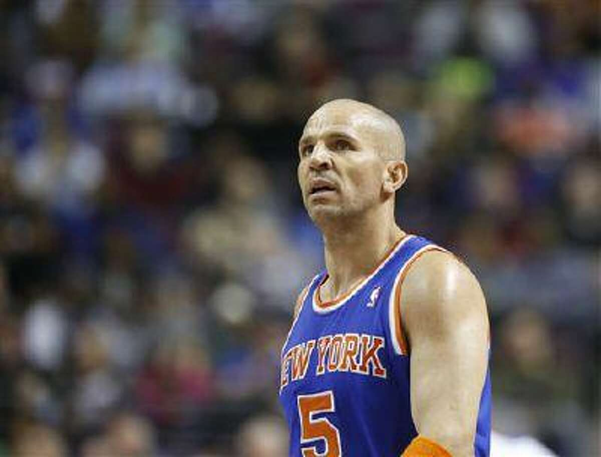 New York Knicks guard Jason Kidd (5) during the second half of a game against the Detroit Pistons, March 6, 2013, in Auburn Hills, Mich.
