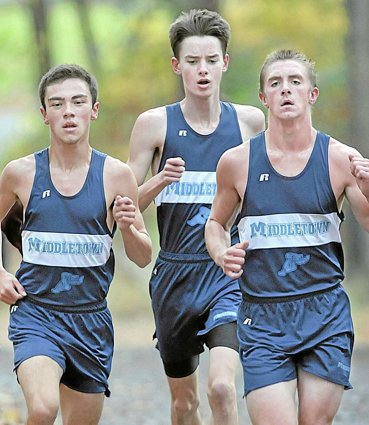 Middletown distance runners, Mateo Alvarez, placed 19th in 17:29.20, at left and Ben Schaff placed 33rd in 17:49.82 Wednesday afternoon's CCC XCountry Championship at Wickham Park in Manchester.