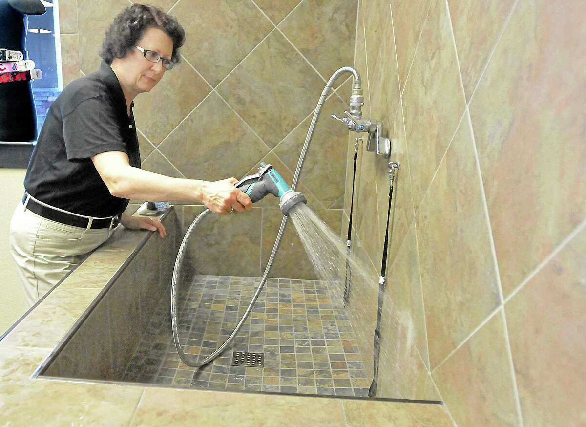 Cromwell resident Melanie Savage, a sales rep at Pet Valu at 51 Shunpike Road in Cromwell Square Shopping Center, cleans one of three bays in the dog wash station at the store. The self-serve stations are elevated to wash your pet at a comfortable height and has stairs so your pet can walk right into the tub. Shampoo and towels are included in the $10 charge and appointments are not necessary.