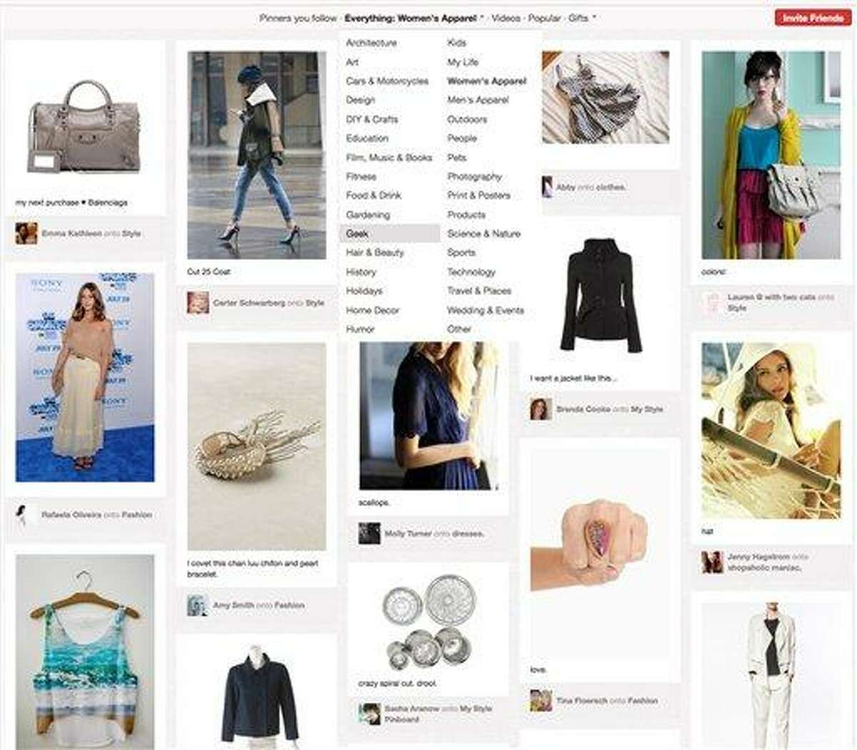 This screen shot shows a page of women's products from Pinterest. The site's popularity has exploded in recent weeks. In a twist, though, the surge is driven not by the usual geek crowd of young men from New York and San Francisco, but by women who live in the Midwest and the central U.S. They use the sleek, photo-heavy Pinterest for fashion inspiration, wedding planning and home design, or just to post photos of puppies. Associated Press