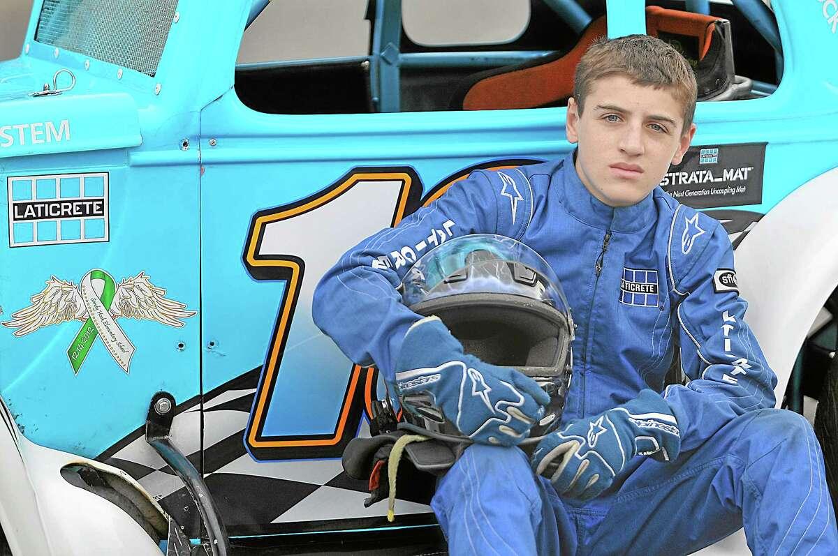 """Joey """"Joey Walnuts"""" Ternullo, 14 races in the Legends Division in his replica of a 1934 Ford Coupe at Waterford Speedway. Ternullo has earned fifty-two trophies in 8 years of competition. Catherine Avalone - The Middletown Press"""