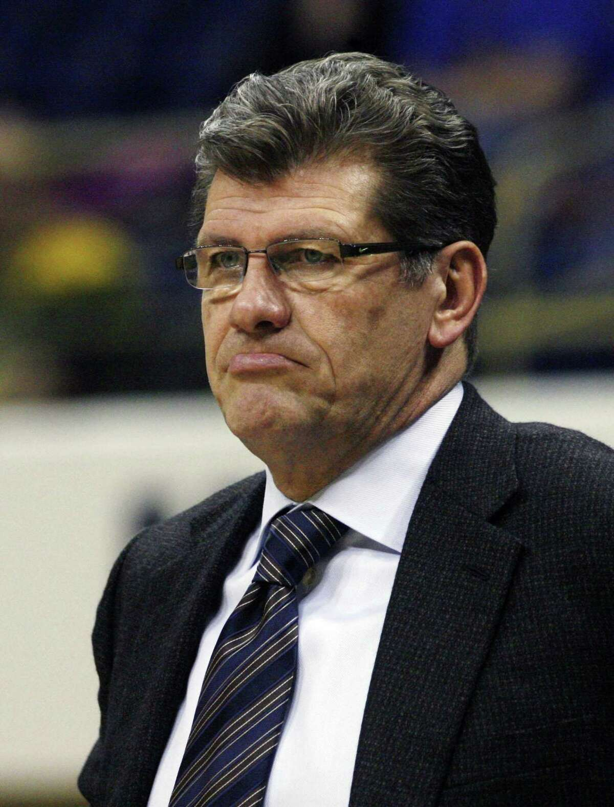 February 21, 2012; Pittsburgh,PA, USA: Connecticut Huskies head coach Geno Auriemma reacts on the sidelines against the Pittsburgh Panthers during the second half at the Petersen Events Center. UConn won 86-37. Mandatory Credit: Charles LeClaire-USPRESSWIRE