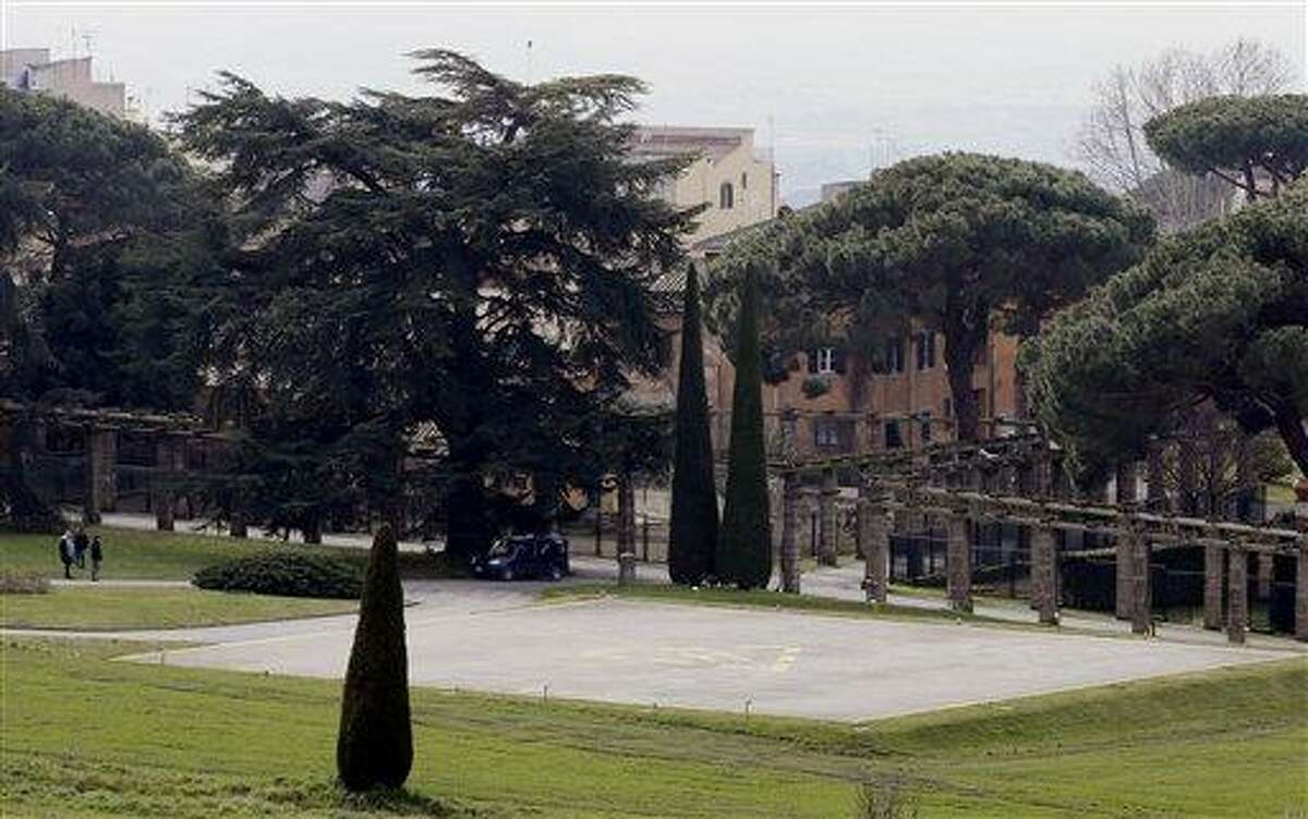 A view of the helipad in the pope's summer residence of Castel Gandolfo, in the town of Castelgandolfo, south of Rome, Wednesday, Feb. 20, 2013. Immediately after his resignation on Feb. 28, 2013, Pope Benedict XVI will spend some time at the papal summer retreat in Castel Gandolfo, overlooking Lake Albano in the hills south of Rome where he has spent his summer vacations reading and writing. (AP Photo/Gregorio Borgia)