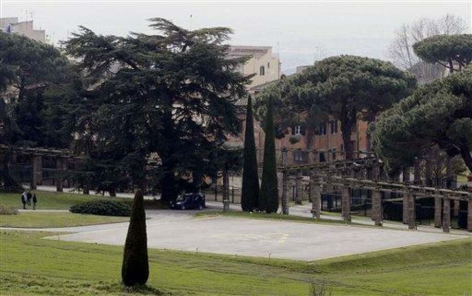 A view of the helipad in the pope's summer residence of Castel Gandolfo, in the town of Castelgandolfo, south of Rome, Wednesday, Feb. 20, 2013. Immediately after his resignation on Feb. 28, 2013, Pope Benedict XVI will spend some time at the papal summer retreat in Castel Gandolfo, overlooking Lake Albano in the hills south of Rome where he has spent his summer vacations reading and writing. (AP Photo/Gregorio Borgia) Photo: AP / AP