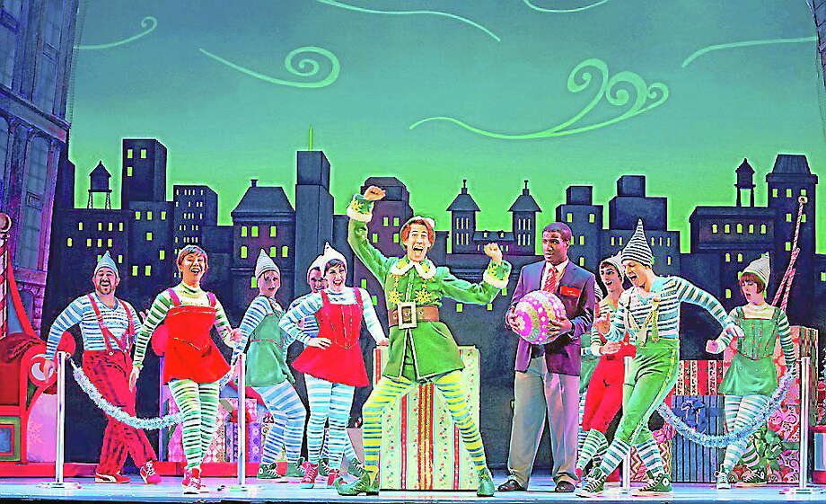 """Submitted photo - Palace Theater Matt Kopec as Buddy and the cast rehearse a scene for their upcoming production of """"Elf the Musical"""" at the Palace in Waterbury. Photo: Journal Register Co."""