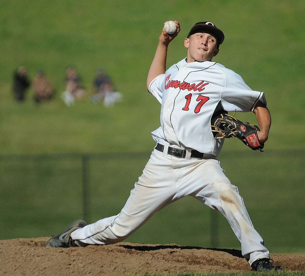 Catherine Avalone/The Middletown PressCromwell senior pitcher Christian Budzik on the mound against East Hampton in the Class S semi final game at Sgt. Zipadelli Field at Sage Park in Berlin Friday afternoon. Cromwell won 3-1 and advances to the state championship game.