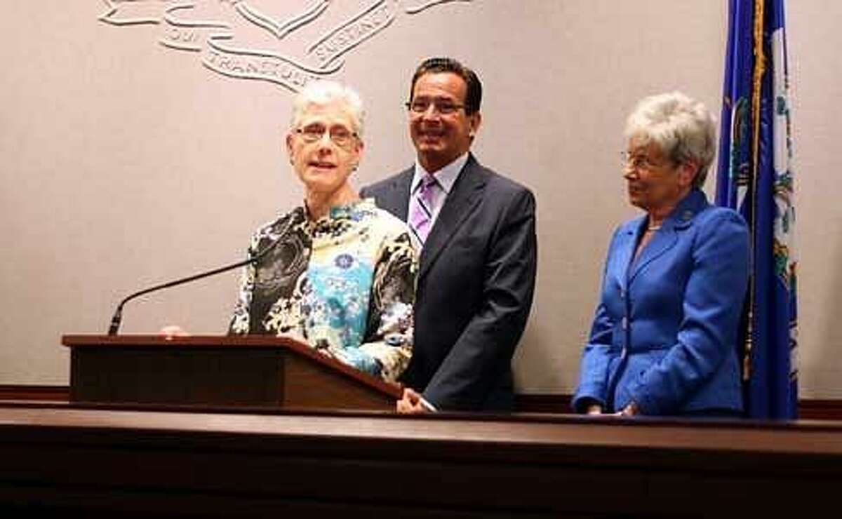 Terry Edelstein stands with Gov. Dannel P. Malloy and Lt. Gov. Nancy Wyman at a press conference announcing her appointment Christine Stuart photo