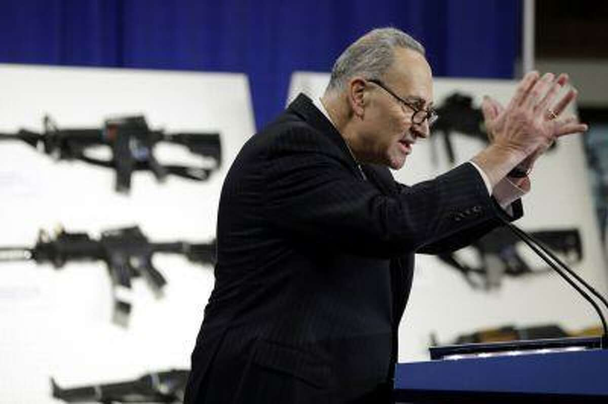 Sen. Charles Schumer, D-N.Y., speaks during a Jan. 24 news conference with a coalition of members of Congress, mayors, law enforcement officers, gun safety organizations and other groups on Capitol Hill in Washington to introduce legislation on assault weapons and high-capacity ammunition feeding devices.