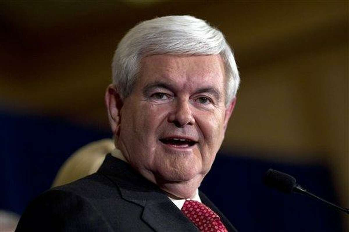 Republican presidential candidate, former House Speaker Newt Gingrich, speaks during a Super Tuesday rally in Atlanta. Associated Press