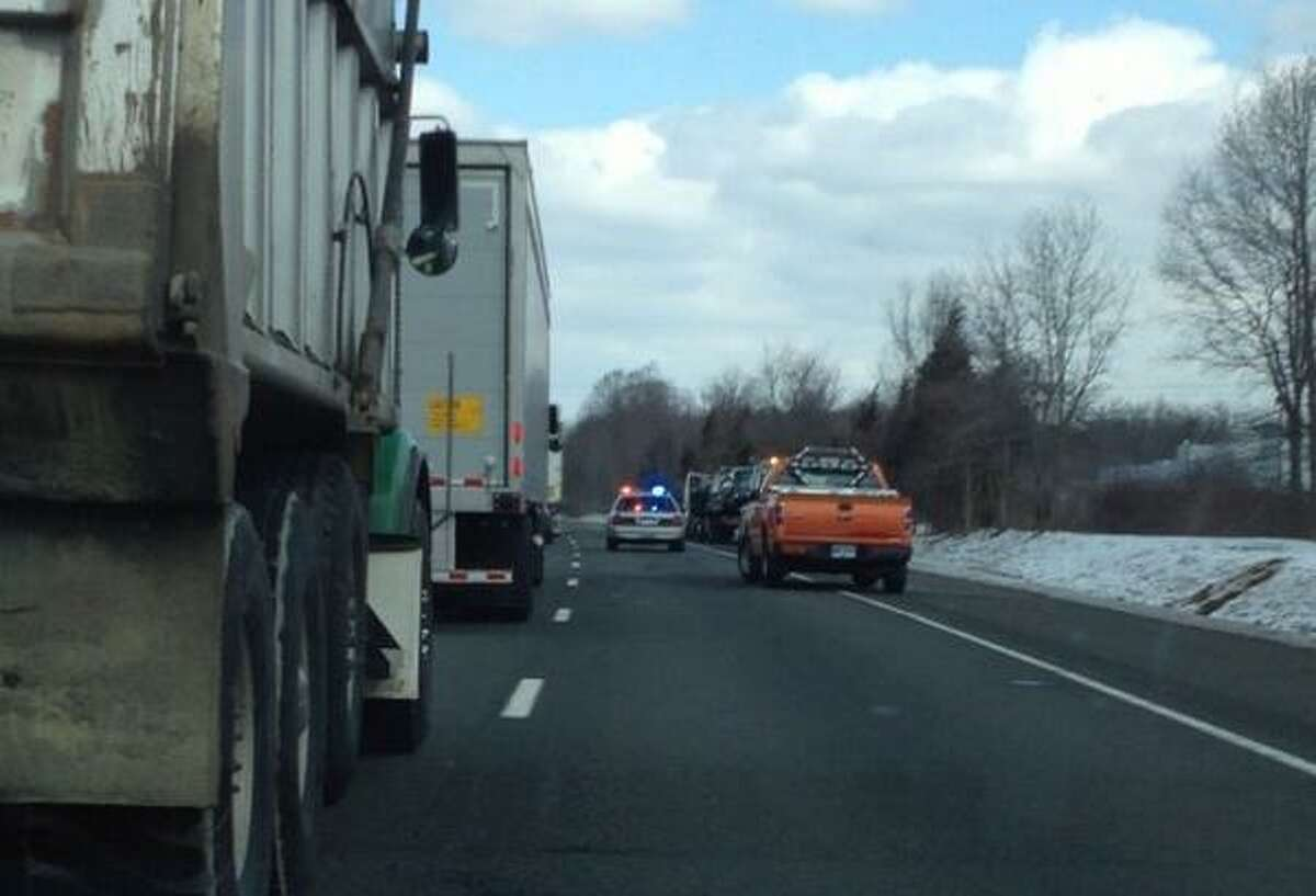 Lane closure on I-91 Northbound between Exits 16 and 17 after a multiple-vehicle accident. Credit: Rachel Chinapen/New Haven Registe