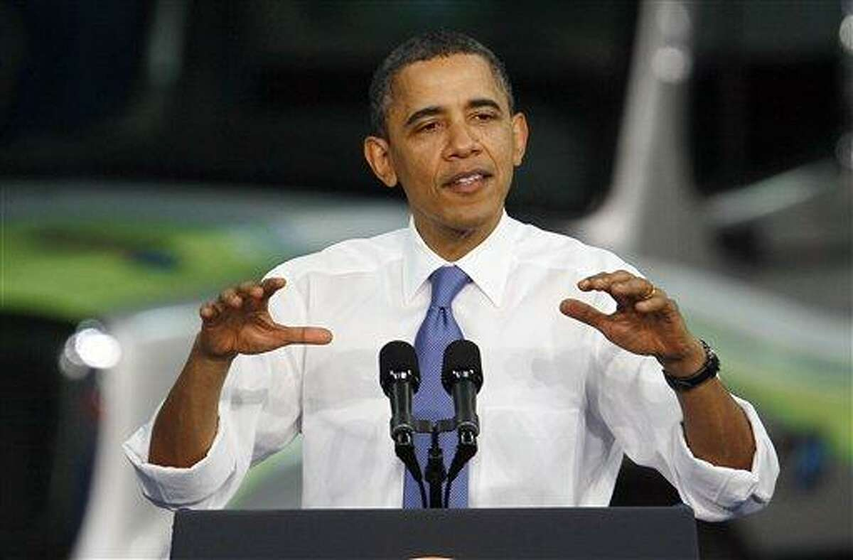 President Barack Obama speaks during a visit to the Daimler Trucks North America Mount Holly Truck Manufacturing Plant in Mount Holly, N.C., Wednesday. Associated Press
