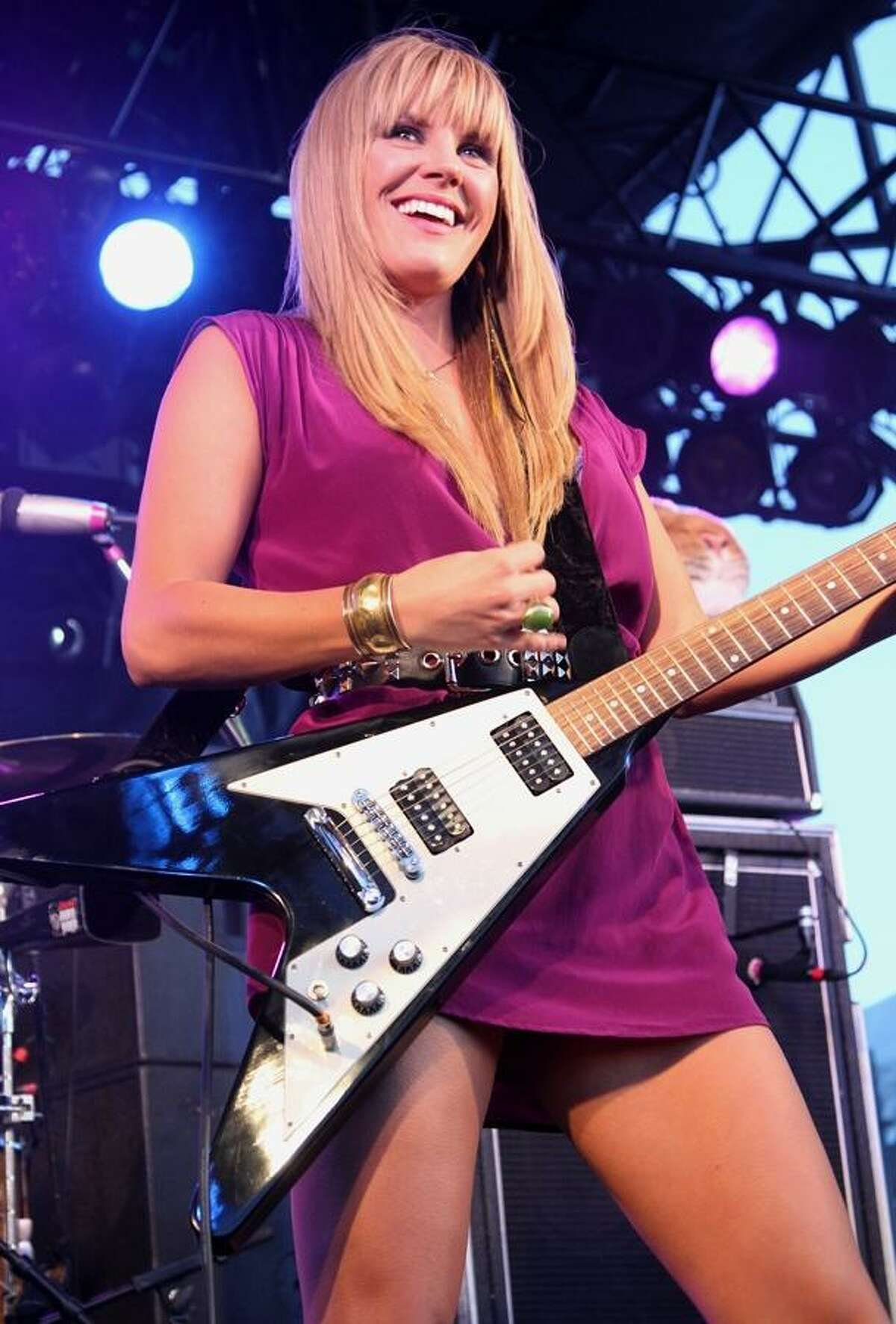 """Musician Grace Potter of Grace Potter and the Nocturnals is shown performing on stage during a """"live"""" concert appearance."""