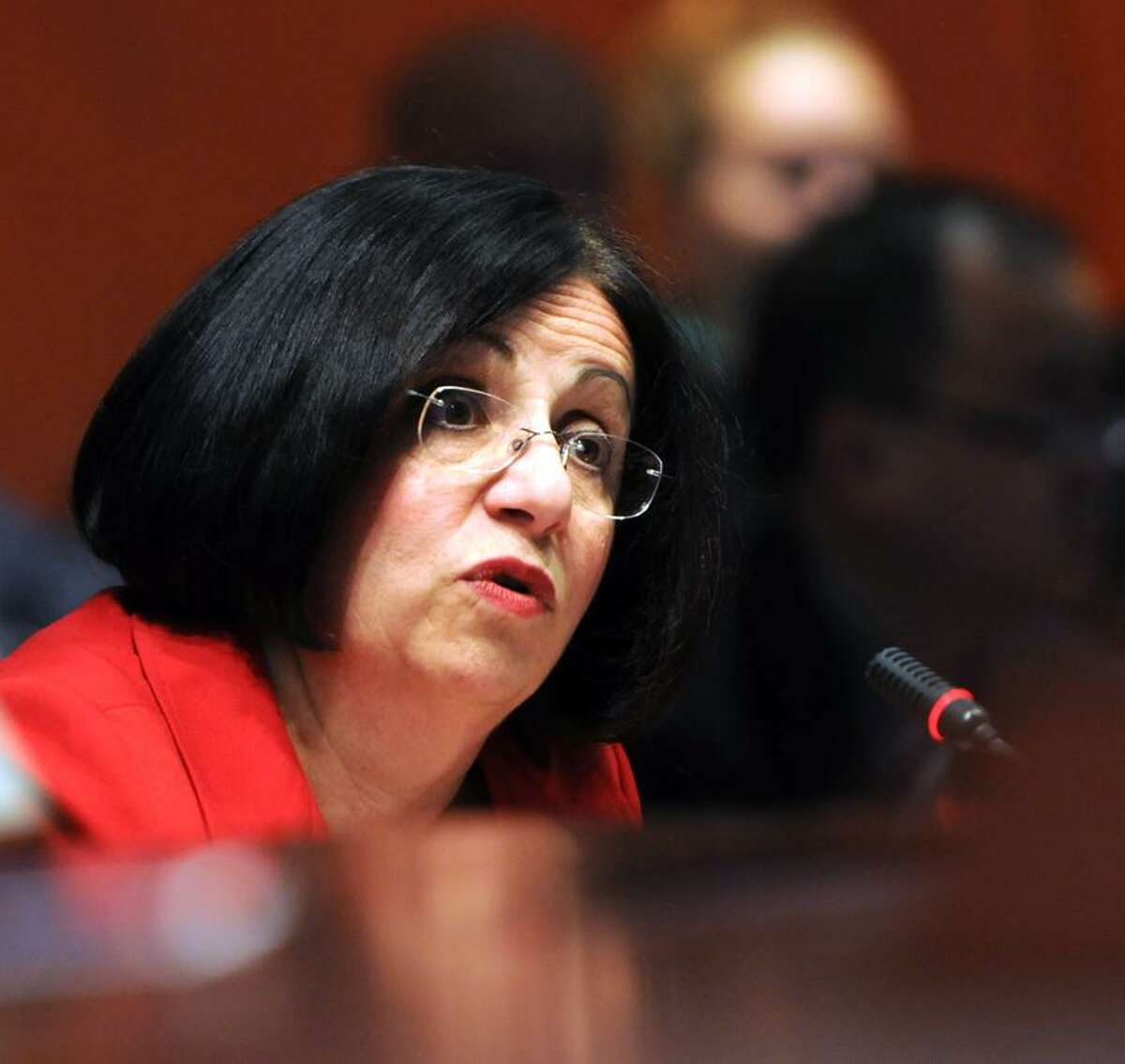 State Senator Toni Boucher, R-Wilton, an outspoken critic of legalizing marijuana, testifies during a Judiciary Committee public hearing at the State Capitol Wednesday 3/7/12 on H.B. No. 5389, an act to permit the palliative use of marijuana. Photo by Peter Hvizdak / New Haven Register
