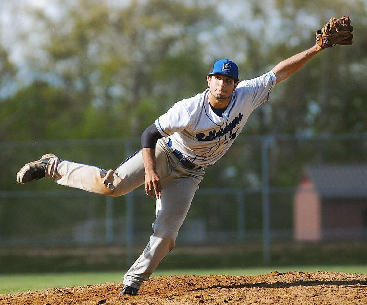 Catherine Avalone/The Middletown Press In this file photo, East Hampton junior Marvin Gorgas throws during his one-hitter on May 7 against Westbrook.