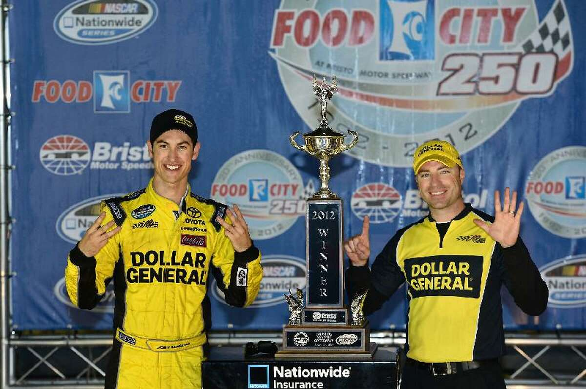 AP Photo/Autostock, Brian Czobat Joey Logano, left, poses with Crew Chief Adam Stevens in Victory Lane after the NASCAR Nationwide Series auto race at Bristol Motor Speedway on Friday night in Bristol, Tenn.