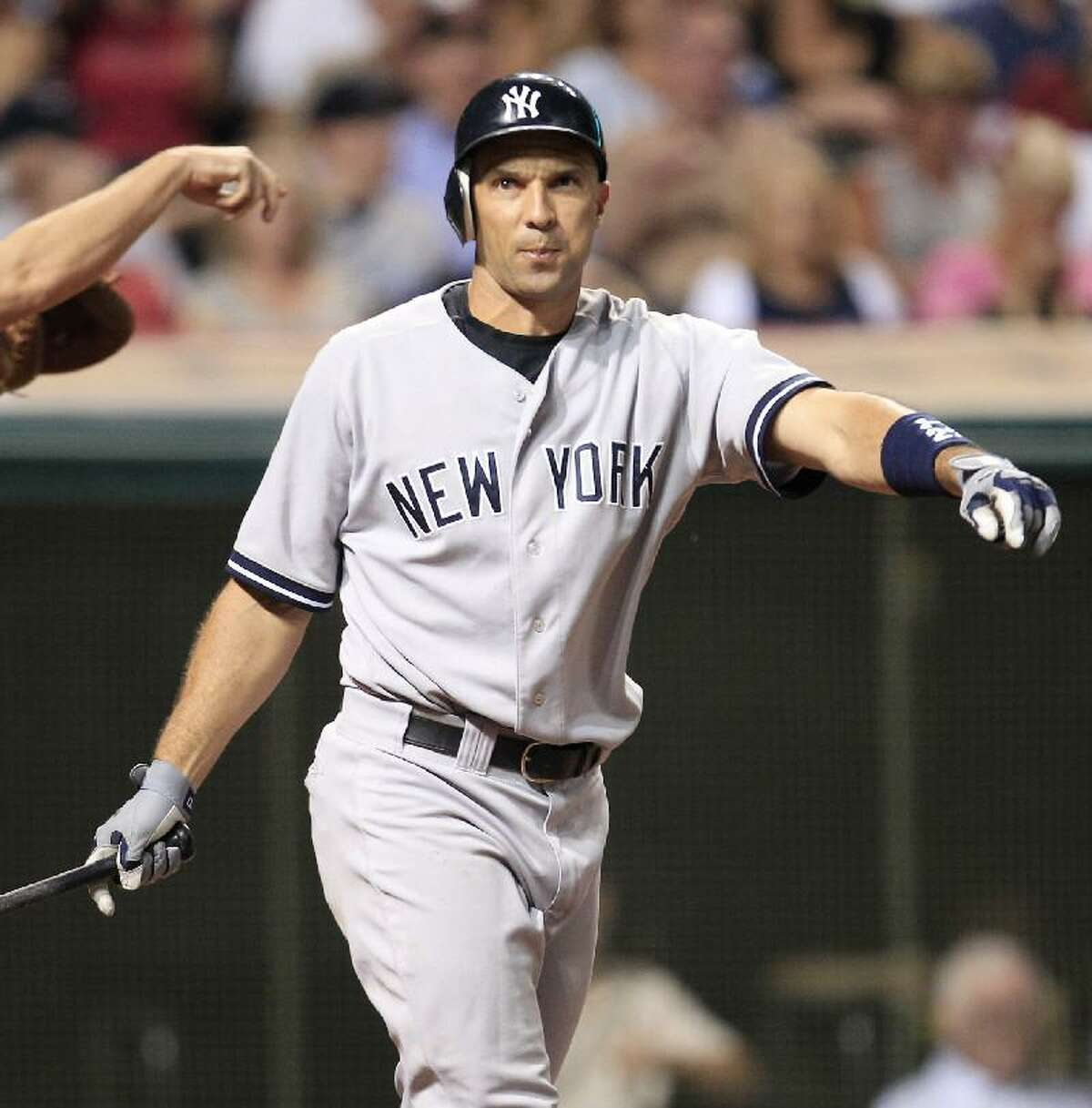 ASSOCIATED PRESS New York Yankees' Raul Ibanez reacts after striking out against Cleveland Indians relief pitcher Chris Perez in the ninth inning of Saturday night's game in Cleveland. The Yankees lost 3-1.