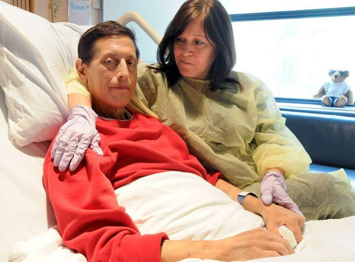 Joseph Sansone and his wife Ida in Yale-New Haven Hospital. Sansone is in great need for a liver transplant. Mara Lavitt/New Haven Register
