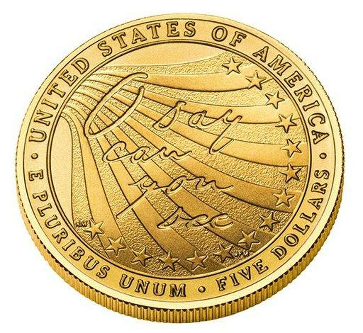 """This image provided by Star-Spangled 200 shows the reverse side of a gold coin commemorating the 200th anniversary of the writing of """"The Star-Spangled Banner."""" The U.S. Mint began selling the coins Monday, March 5, 2012 and they'll be available through mid-December. The coins depict the Battle of Baltimore during the War of 1812 that was the basis for the national anthem. 100,000 gold coins and 500,000 silver coins will be produced. (AP Photo/Star-Spangled 200)"""