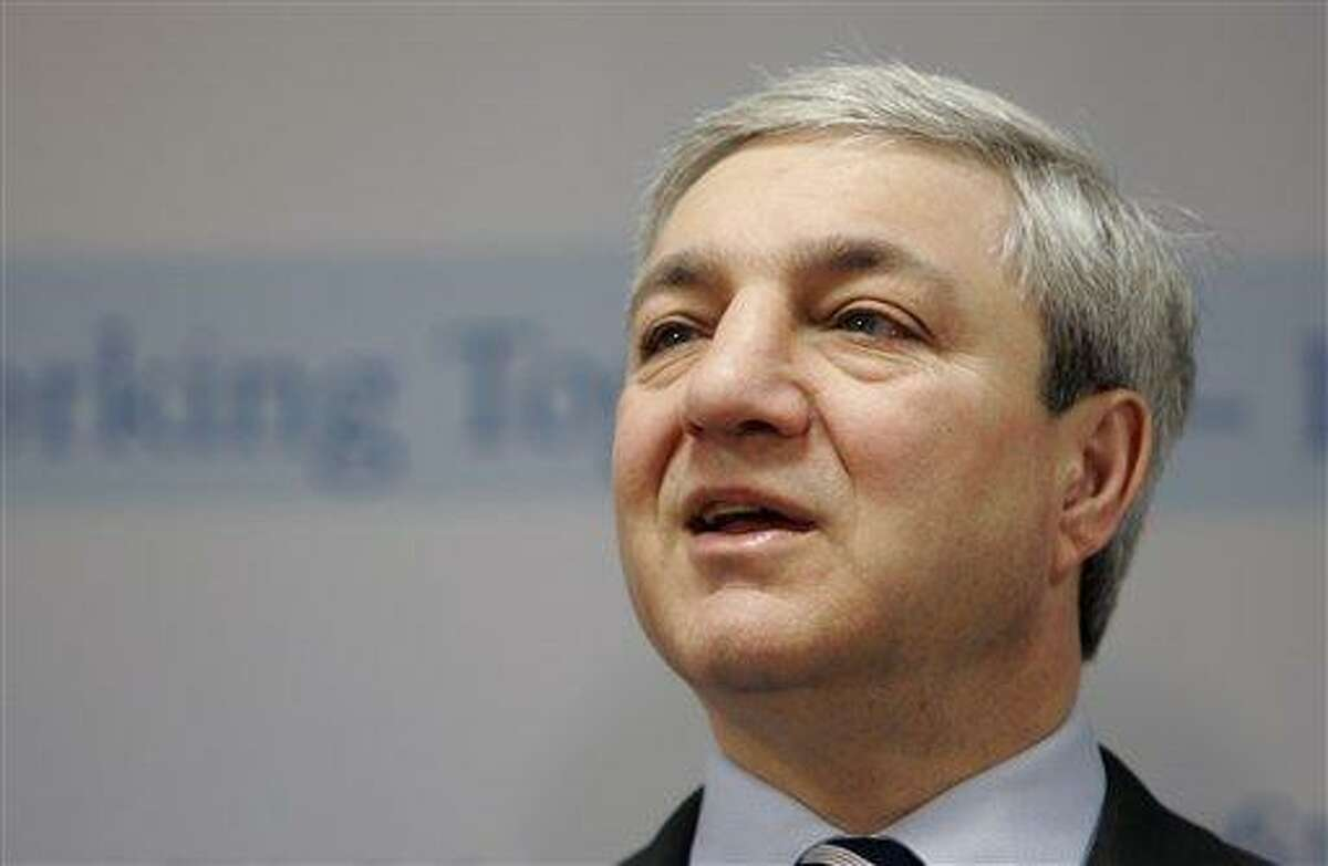 """FILE - In this March 7, 2007, file photo, Penn State President Graham Spanier speaks during a news conference at the Penn State Milton S. Hershey Medical Center in Hershey, Pa. Spanier and his lawyers attacked the university-backed report on the Jerry Sandusky sex abuse scandal on Wednesday, Aug. 22, 2012, in Philadelphia, calling it a """"blundering and indefensible indictment"""" as they fired a pre-emptive strike while waiting to hear if he'll be charged in the case. (AP Photo/Carolyn Kaster, File)"""