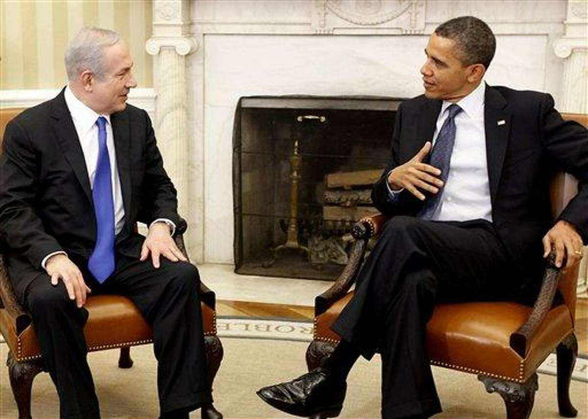 President Barack Obama meets with Israeli Prime Minister Benjamin Netanyahu in the Oval Office at the White House in Washington Monday. Associated Press