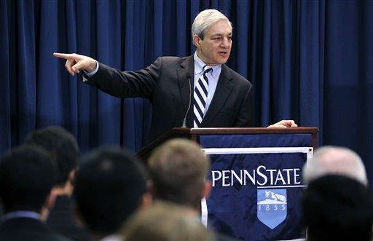 """In this March 9, 2011, photo, Penn State President Graham Spanier speaks during a news conference Wednesday, March 9, 2011, in State College, Pa. Spanier and his lawyers attacked the university-backed report on the Jerry Sandusky sex abuse scandal on Wednesday, Aug. 22, 2012, in Philadelphia, calling it a """"blundering and indefensible indictment"""" as they fired a pre-emptive strike while waiting to hear if he'll be charged in the case. (AP Photo/Centre Daily Times, Nabil K. Mark) MANDATORY CREDIT; MAGS OUT"""