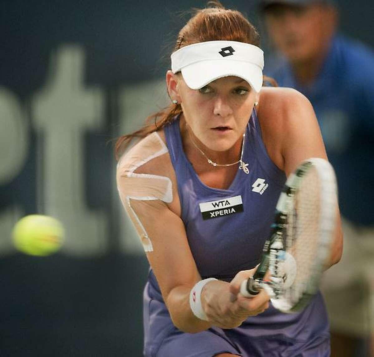 New Haven Open at Yale -- Agnieszka Radwanska second sert against Olga Govortsova at the GNO. Melanie Stengel/Register