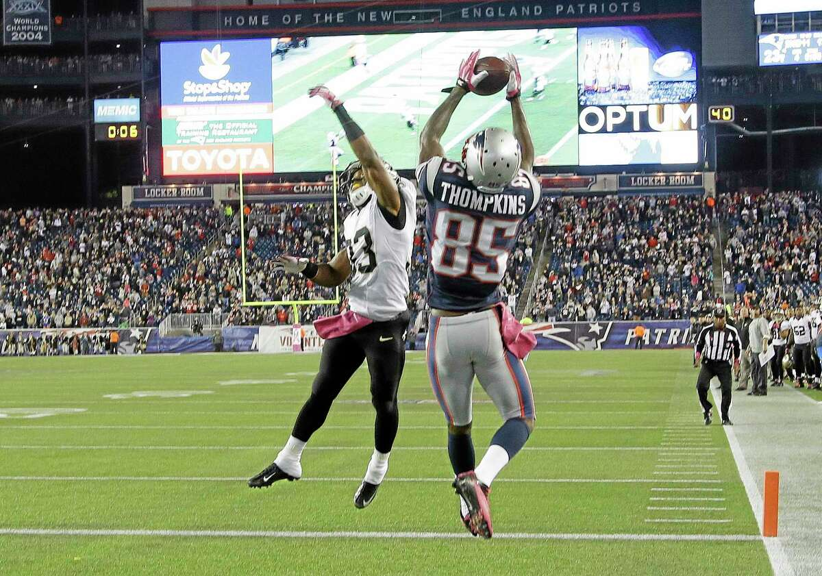 Patriots wide receiver Kenbrell Thompkins catches the winning touchdown pass against Saints on Sunday.